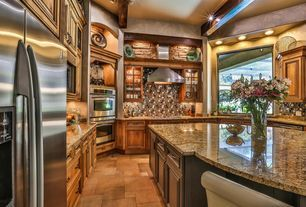 """Traditional Kitchen with Mullion Pattern #1, Distinctive 30""""/27"""" Double Wall Ovens, Gold Brazil Granite Countertop"""