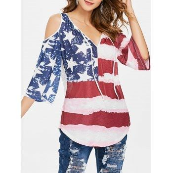 81b3adadaf52d Free shipping 2018 Patriotic American Flag Cold Shoulder Top multicolor L  under  17.45 in Blouses online store. Best Cold Shoulder Dress and Black  Off The ...