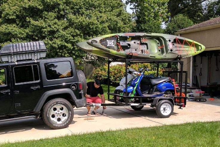 Like to take Scooters, Bicycles, Dirt Bikes, ATVs and Kayaks with you camping? Kyle's setup shows how easy you can turn a Utility Trailer into a Toy Hauling trailer by adding one of our DIY No Weld Trailer Racks.