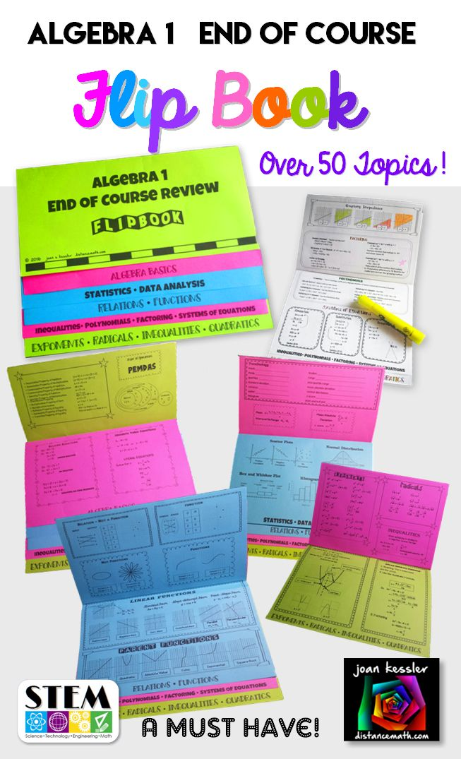 This Algebra 1 End of Course Review Foldable Flip Book - Study Guide will help your students to organize, refresh, and remember important topics and concepts. Covers over 50 topics!   Easy to make - No mess, no cutting, no glue and a paper saver, too. Three sheets make one book.   Perfect for End of year Review for Algebra 1 and also for the beginning of the course for Algebra 2 and Geometry students.