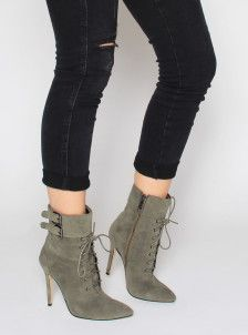 Janina Khaki Suede Lace Up Ankle Boots