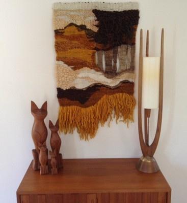 Mid Century Fiber Art - we have the kitties
