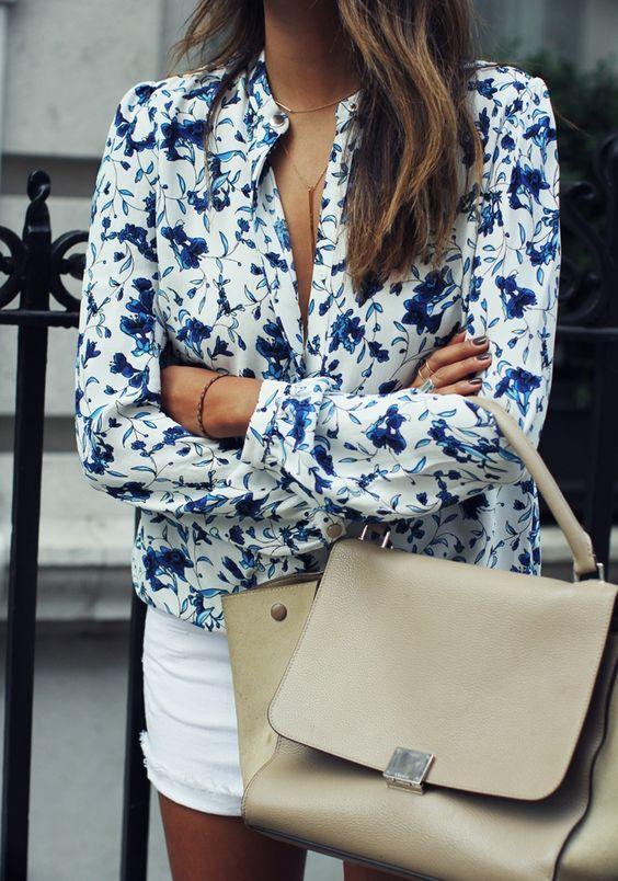 Floral blouse,white shorts