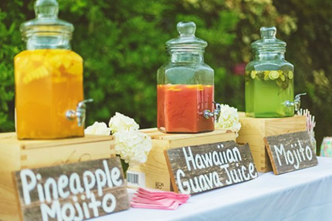 Add a trio of tropical-inspired signature drinks to your reception.