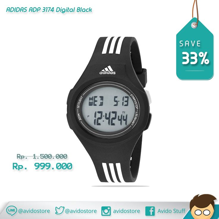 Information of Adidas Men's ADP 3174 Digital Black Watch Original : A smooth black case and strap, the iconic 3-stripes and a positive digital display bring classic adidas Performance style to the Uraha collection.   - Black watch featuring digital display with day, date, and month information - 42-mm stainless steel case with mineral dial window - Quartz movement with digital display - Polyurethane band with logo stripes and buckle closure - Water resistant to 50 m (165 ft)
