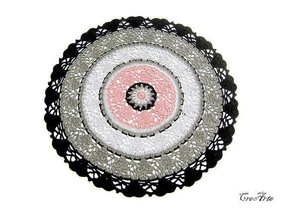 Colorful Crochet Doily Black Gray and Pink Doily by CreArtebyPatty