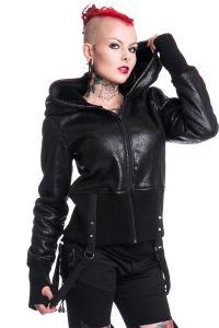 Vixxsin - Gothic Lederimitat Jacke mit grosser Kapuze & Bondages