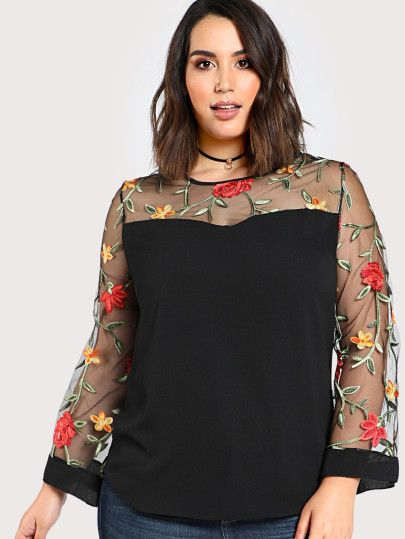 cc7fc52b3e7cd Plus Size Sheer Sleeve Floral Embroidered Top BLACK