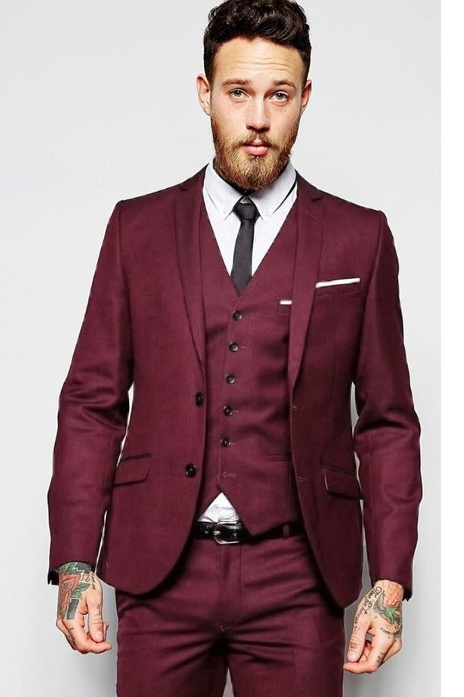 Burgundy Wedding Men Suits Groom Tuxedos One Button 3 Pieces Prom Party Formal