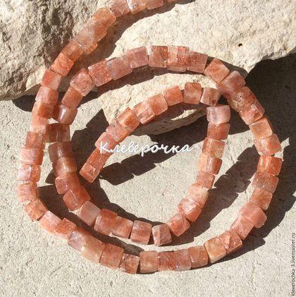 Для украшений ручной работы. Ярмарка Мастеров - ручная работа. Купить Солнечный камень 5-6 мм кубик гладкий бусины камни для украшений. Handmade.