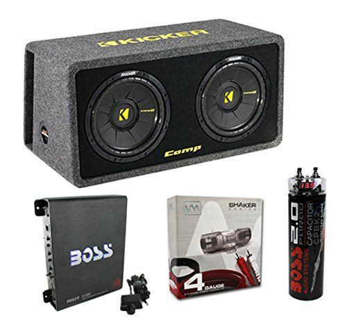 """Kicker 40DCWS122 12"""" 1200W Car Subwoofers Sub Enclosure + Amp + Capacitor + Wire"""