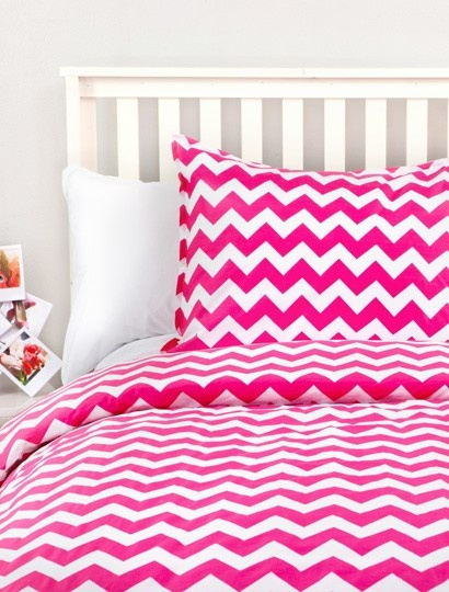 This pink zig zag duvet is mesmerizing! Perfect for adding some color to your dorm room!