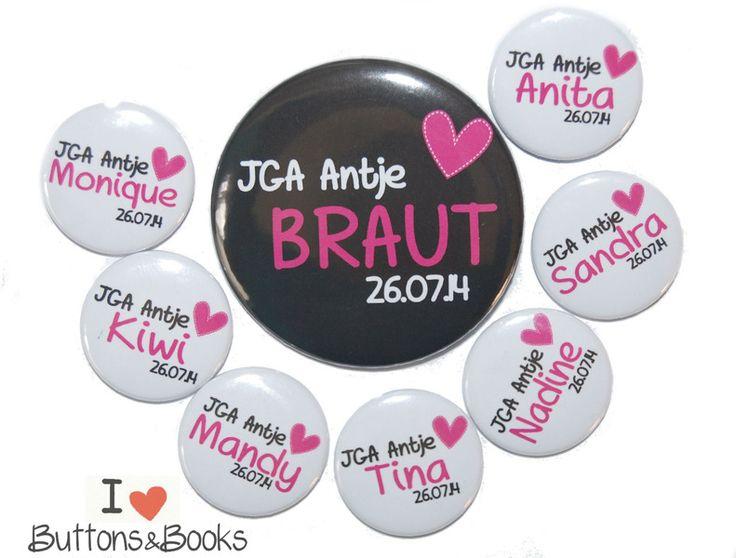 10x JGA Buttons Junggesellinnenabschied Herz von Buttons&Books auf DaWanda.com
