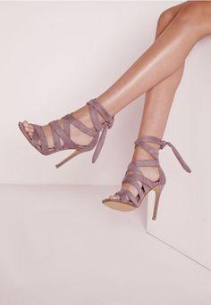 Sandales à talon en suédine mauve - Chaussures - Talons hauts - Missguided