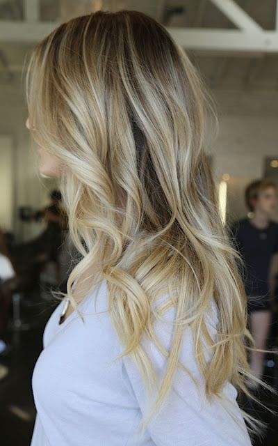 great dark roots to light beachy blonde