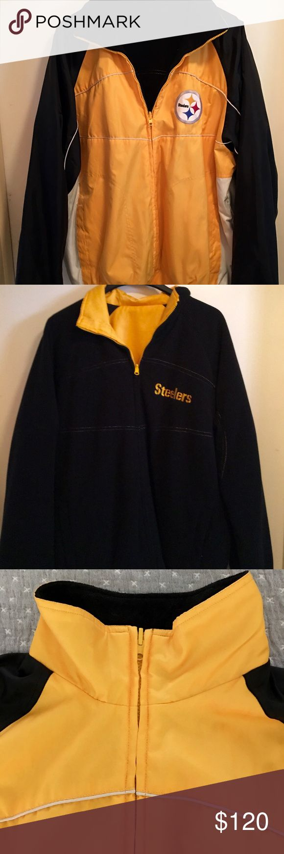 """Men's NFL STEELERS jacket size large Men's size large - NFL STEELERS jacket. Durable yellow outer shell with steelers logo and pockets on one side - reverses to black fleece with STEELERS logo and pockets as well. Zipper is fully reversible. New, - pre-owned but not pre-used! I purchased jackets for my husband (in another listing) and I but have never worn them due to the warm winters here in Florida. Measurements on pictures - another listing that says """"not for sale"""" NFL Jackets & Coats…"""