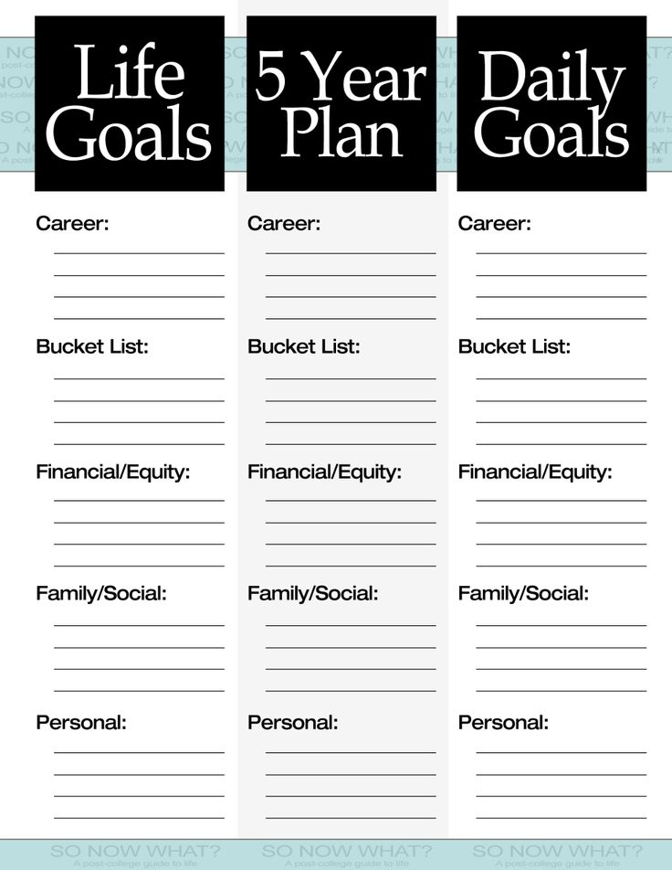The 3 Steps to a 5 Year Plan Goal, Planners and Journaling - personal improvement plan template
