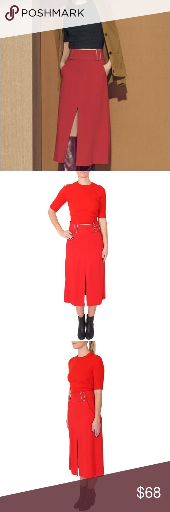 """NWT A.L.C BAKER MIDI SKIRT New with tags, A.L.C """"Baker"""" midi skirt. Gorgeous red color, perfect for the FALL! :) Mid-weight crepe lends fluid drape to this ladylike A.L.C. skirt. Buckles at the wide waist create a belted effect, and a long center slit relaxes the hem. Slant hip pockets. Hidden back zip. Unlined.   Dry clean Fits true to size A.L.C. Skirts"""