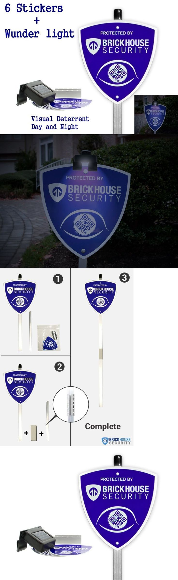 Security Signs and Decals 159908: Security Yard Sign Clip On Light Solar Rechargeable 6 Stickers Home Alarm Kit -> BUY IT NOW ONLY: $43.74 on eBay!
