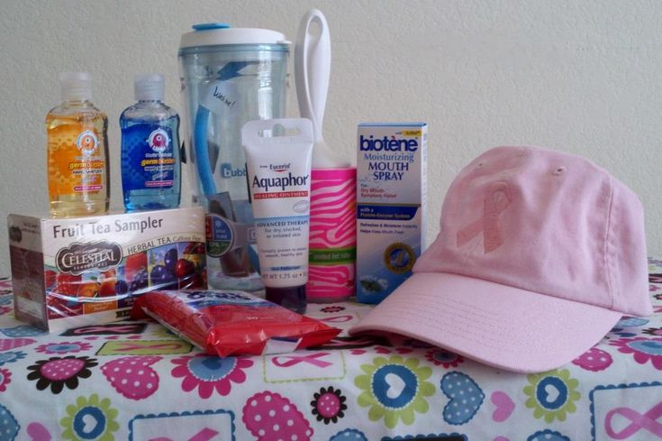 Chemotherapy gift set for a friend: hat, Biotene spray, Aquaphor, lint roller (get's prickly hairs off the scalp when losing it), water bottle, Celestial Seasonings Fruit Tea (makes awesome iced tea), hand sanitizer, wet wipes.