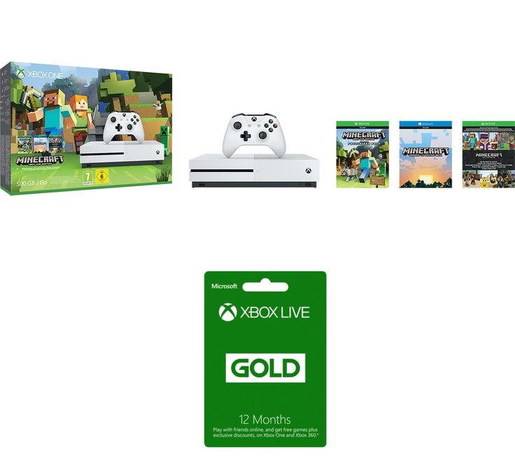 MICROSOFT  Xbox One S with Minecraft Favourites & Xbox Live Gold 12 Month Subscription Bundle, Gold Price: £ 254.99 Get creative with the Microsoft Xbox One S with Minecraft Favourites & Xbox Live Gold 12 Month Subscription Bundle . _____________________________________________________________  Microsoft Xbox One S with Minecraft Favourites The Xbox One S is an enhanced Xbox console 40%...