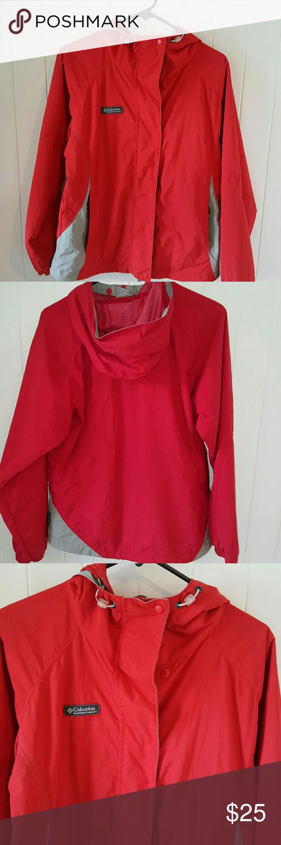 Columbia Sportswear Company size medium red Columbia Sportswear Company size medium Red Jacket full zipper front also snaps ,pull ties for the hood two zippered pockets tag on the back says packable nice lining Columbia Sportswear Company Size medium women's  Red and grey  Logo on front  Zipper and snaps  Packable  Thank you for checking out my closet more to come Tib2015 Columbia Jackets & Coats Utility Jackets