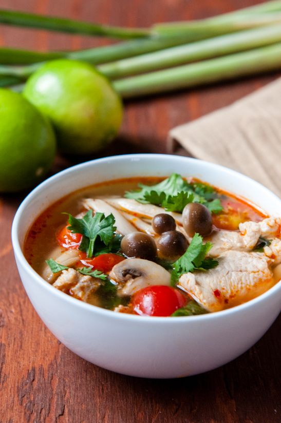 Thailand's wonderfully spicy and sour Tom Yum soup with chicken and mushrooms