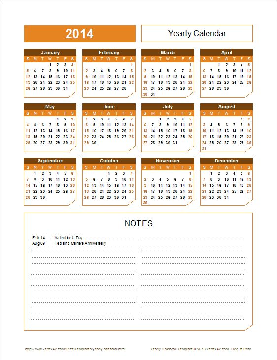 2015 Yearly Calendar Template (Chamfer theme)