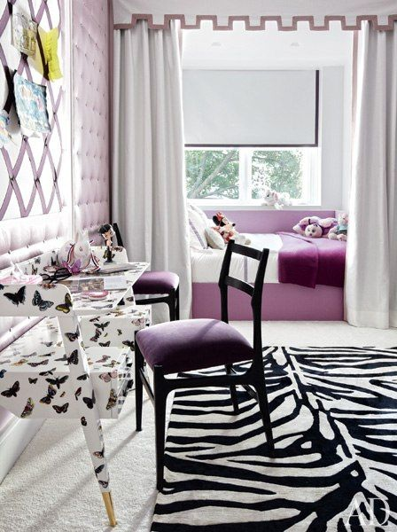 Elevator : Designer Delphine Krakoff Renovates a Manhattan Townhouse : Architectural Digest...Purple, zebra, and butterflys, my oldest would scream and dance giddy if I could make this room for her