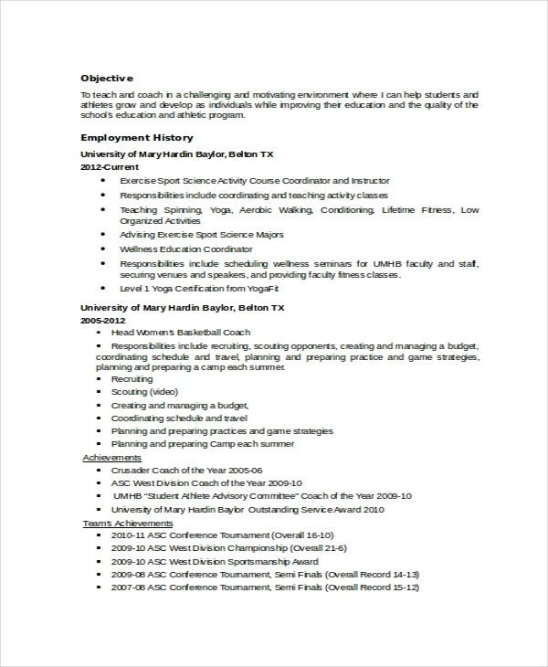 Coach Resume Template 8 Free Word Pdf Document Downloads