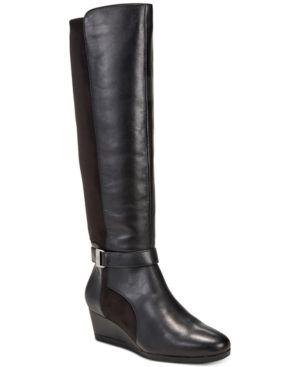 Giani Bernini Cathrin Tall Wide-Calf Wedge Boots, Created for Macy's - Black 7.5M