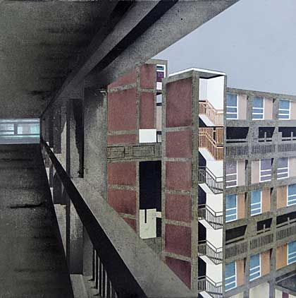 a painting of high rise blocks of flats seen from a balcony Mandy Payne's recent work explores Park Hill in Sheffield, the Grade II* listed council estate and one of Britain's largest examples of Brutalist architecture. The site is currently undergoing regeneration which makes it an interesting site to observe.working with materials integral to the estate itself; aerosol paints (with reference to the graffiti) and concrete its cast as a concrete canvas to paint on directly.