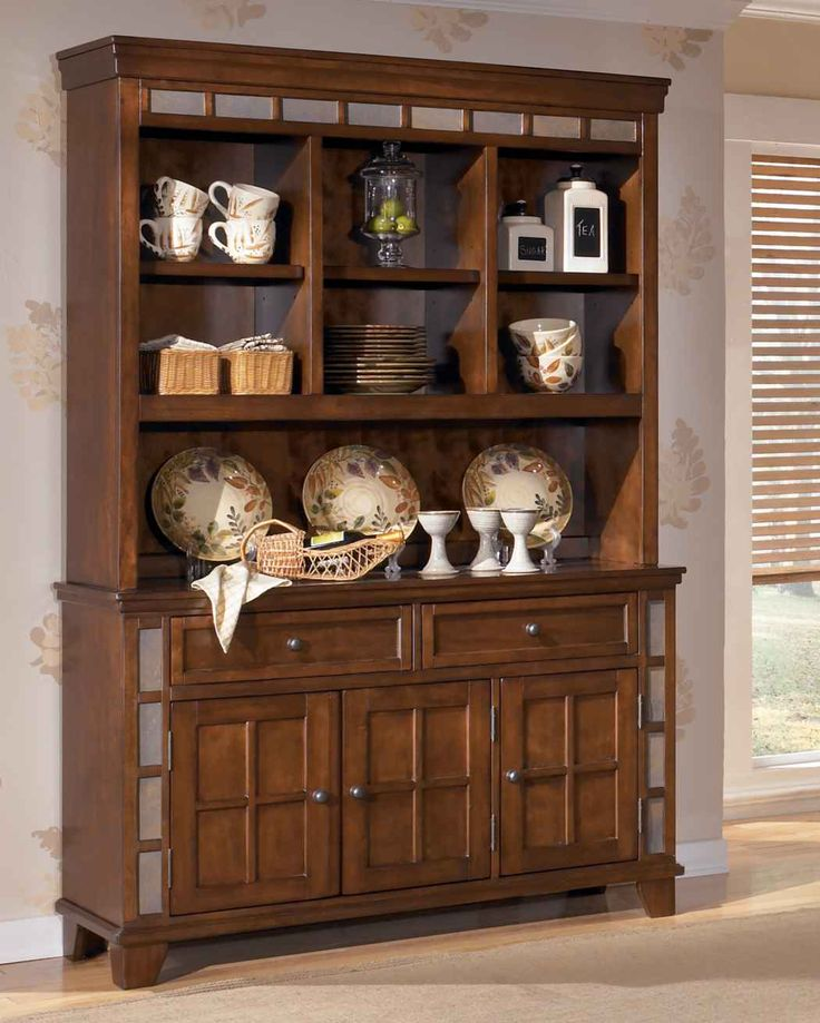 Owensboro Rustic Buffet Hutch China Cabinet With Slate Look Tile By Signature Design Ashley At Olindes Furniture