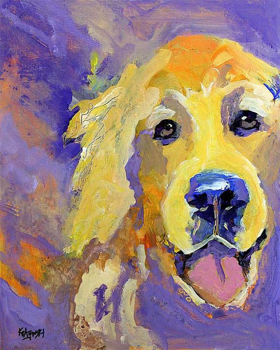 Golden Retriever Art Print of Original Acrylic by dogartstudio