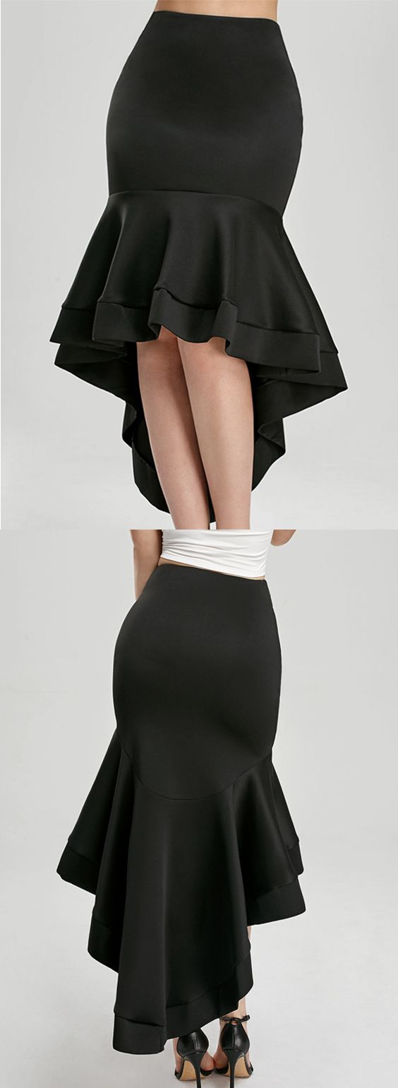 High Waisted Ruffle Trim High Low Skirt – Black – L