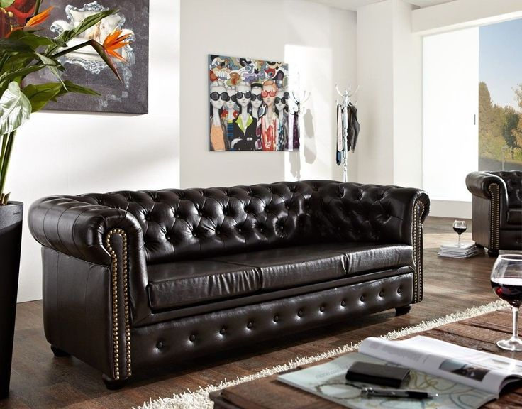 couch chesterfield antikbraun 200x90 cm 3 sitzer sofa. Black Bedroom Furniture Sets. Home Design Ideas