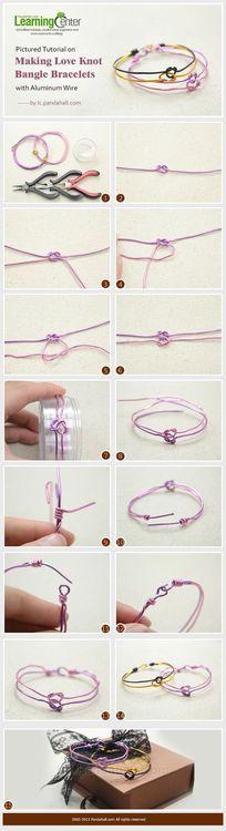 Jewelry Making Tutorial-Make Love Knot Bangle Bracelets with Aluminum Wire | PandaHall Beads Jewelry Blog