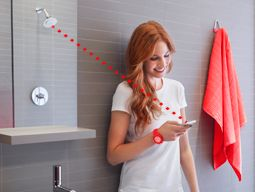 KOHLER | Moxie™ Showerhead + Wireless Speaker | Your music. Your shower. Your time. To chill out. To sing. Refresh. Energize. Escape. The Moxie showerhead + wireless speaker delivers up to 7 hours of music, news and more by pairing wirelessly with your device enabled with Bluetooth® technology. Just you + water + clean, clear sound.