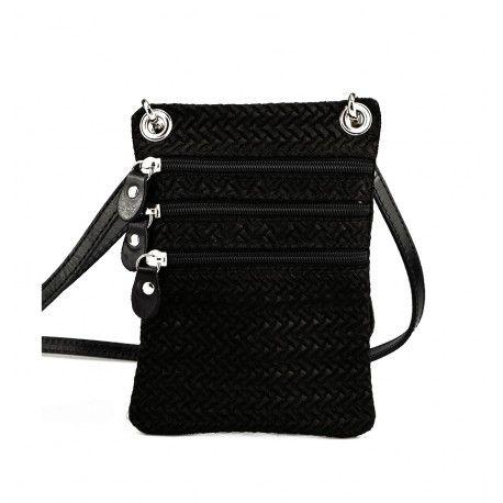 Lille flad taske fra Rudi & Harald i sort flettede kalveskind - HZ080