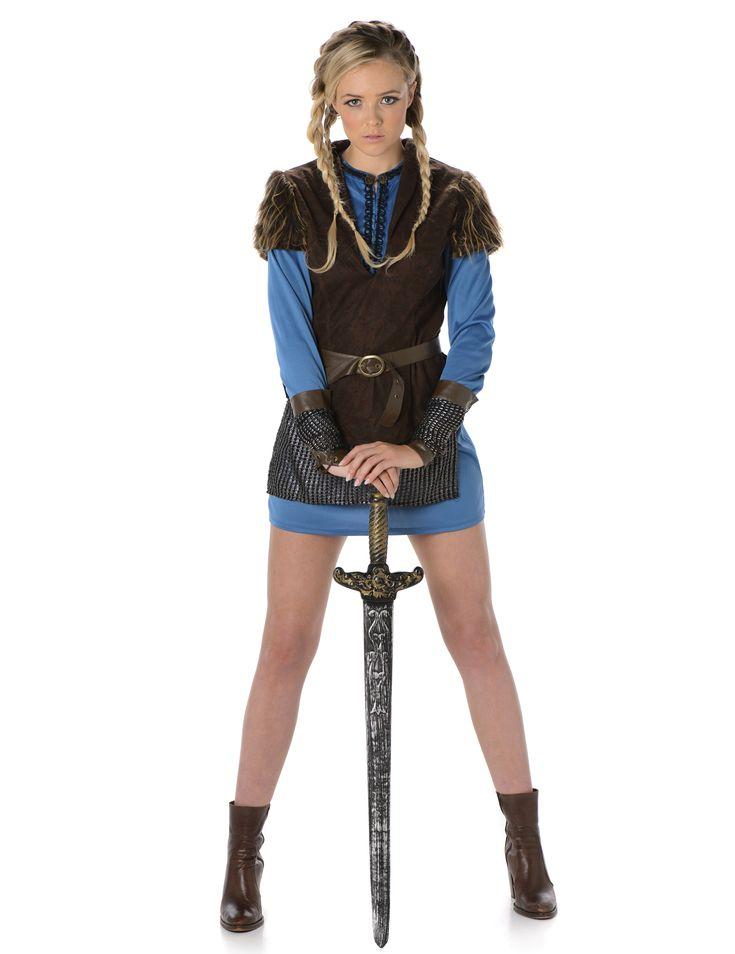 Blauw Viking kostuum voor vrouwen: Dit Viking kostuum voor jongens bestaat uit een tuniek, een rokje, een vest, manchetten en een riem (zwaard en schoenen niet inbegrepen).De tuniek met lange mouwen is blauw met zwarte...