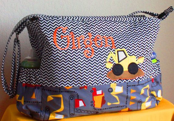 Truck Diaper Bag for boys/ Chevron Diaper by CreativeBagsForKids, $140.00