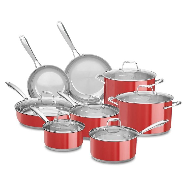 KitchenAid Stainless Steel Cookware Set (14 pc.) - Assorted Colors, pots , pans, frying pans, restaurant, commercial, industrial (Red) *** Check out this great product.