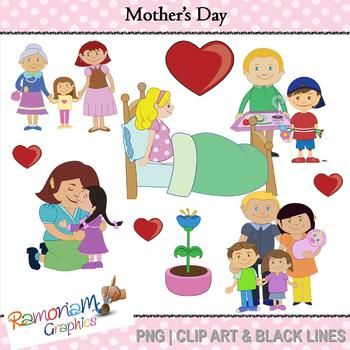 Mother's day clip art - depicting mother receiving the love and attention they deserve!