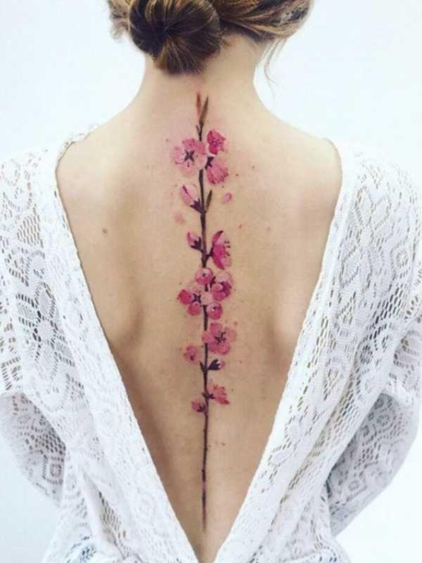 45 Elegant Cherry Blossom Tattoo Designs Of 2020 Flower Spine Tattoos Tattoos Spine Tattoos For Women