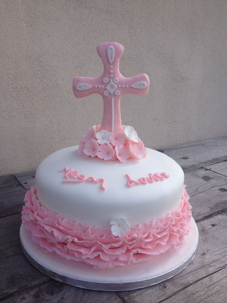 Pretty pink christening cake  Mai iced cakes