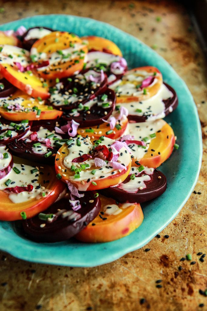 Beet Salad with Tahini Lemon Sauce - Vegan from HeatherChristo.com