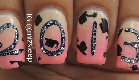 graduation nails! This is what i want my nails to look like when I graduate, expect they will say 2015!