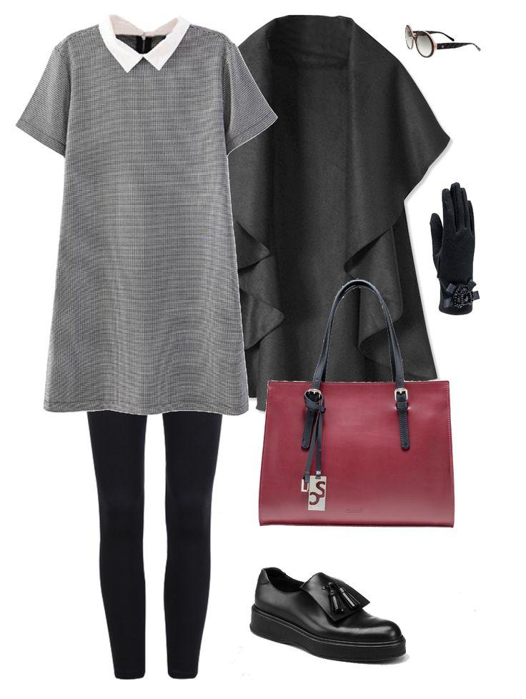 Outfit: minidress grigio, leggins e cappa nera, e una splendida #handbag in #pelle #rossa #caleidos