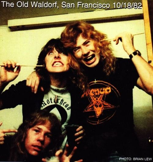 10/11/82 James Hetfield, Lars Ulrich, Dave Mustaine at gig at Old Waldorf