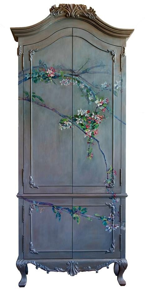 #oak #blossom  #Armoire #pink #silver #branch #painted